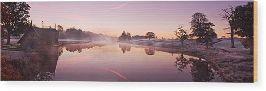 Wood Print featuring the photograph Lake At Dawn Panorama - Ireland by Barry O Carroll