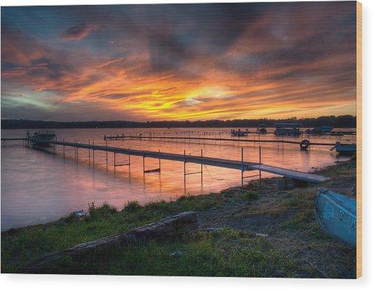 Lake At Sunset Wood Print