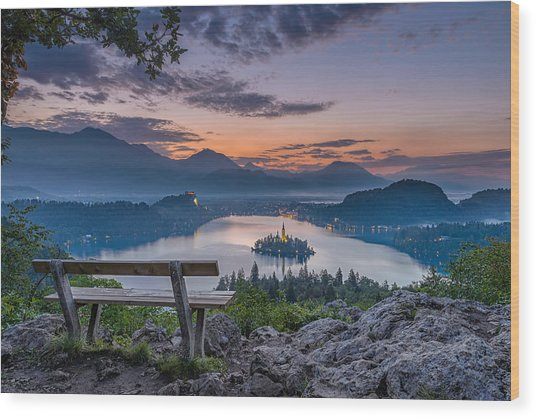 Lake Bled Wood Print
