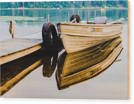 Lake Boat Reflection Wood Print