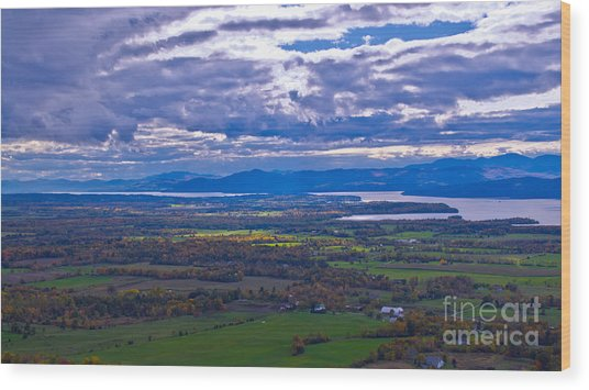 Lake Champlain From The Top Of Mount Philo. Wood Print