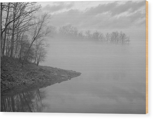 Lake Chatuge Lost In Fog Wood Print