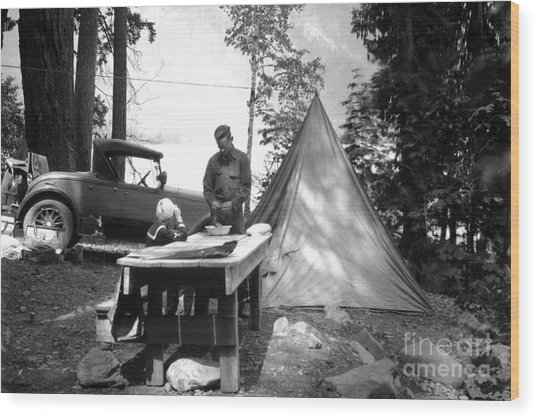 Lake Crescent Camp Site Wood Print