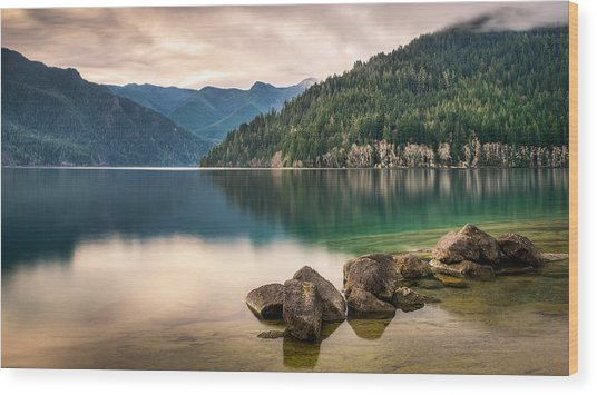 Lake Crescent Zen Wood Print