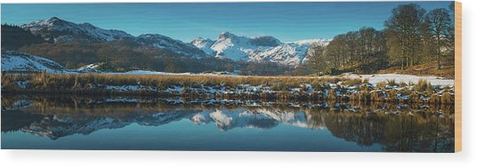Lake District Snowy Winter Mountain Wood Print by Fotovoyager