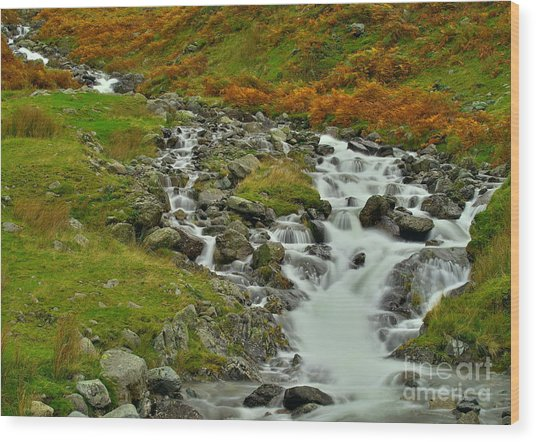 Lake District Waterfall Wood Print