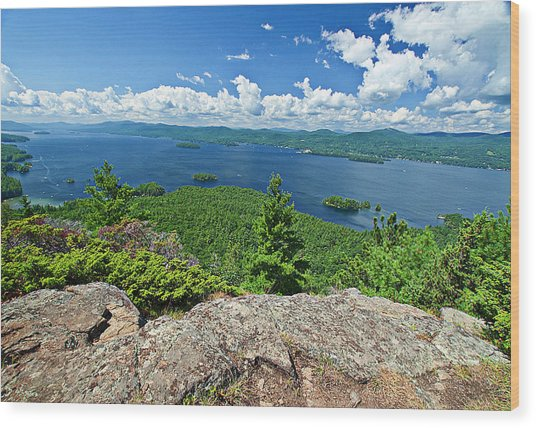 Lake George Shelving Rock Wood Print