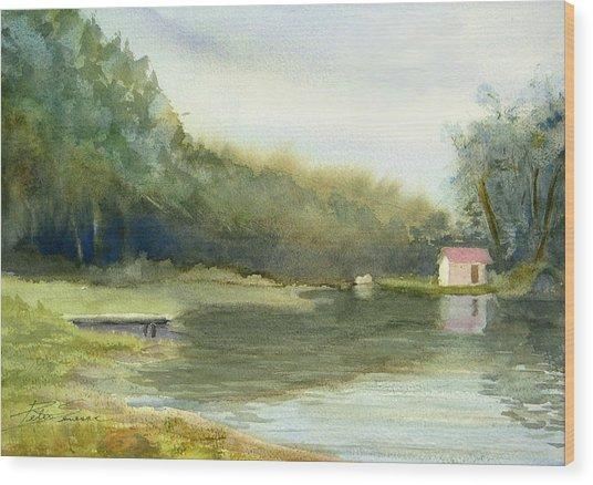 Lake House Wood Print
