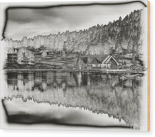 Lake House Reflection Wood Print
