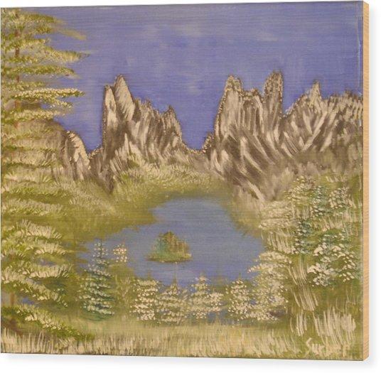 Lake In Glacier Wood Print