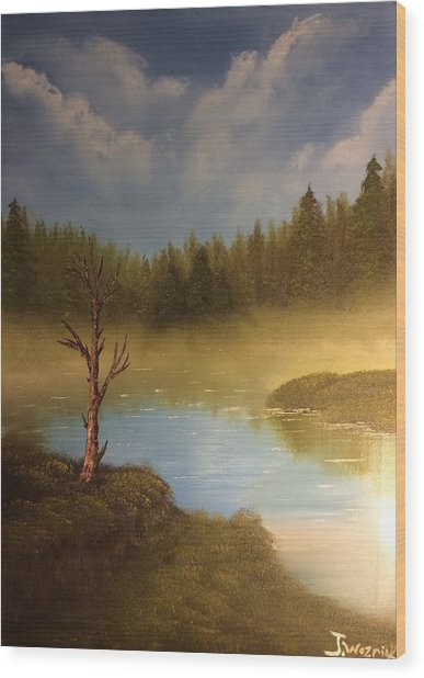 Lake In The Woods  Wood Print