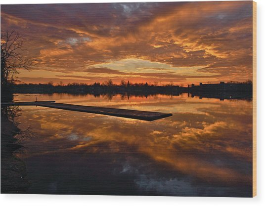 Lake Lenape Sunrise1 Wood Print