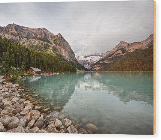 Lake Louise Canoe Rental Wood Print
