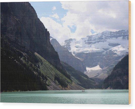 Lake Louise Wood Print by Carolyn Ardolino