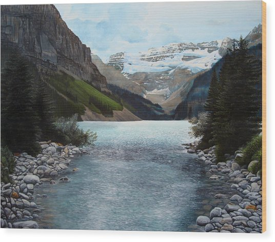 Lake Louise Wood Print by Jennifer Hotai