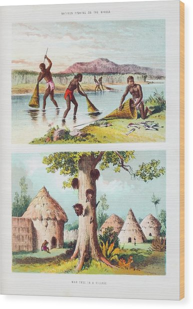 Lake Malawi Fishing And War Tree Wood Print