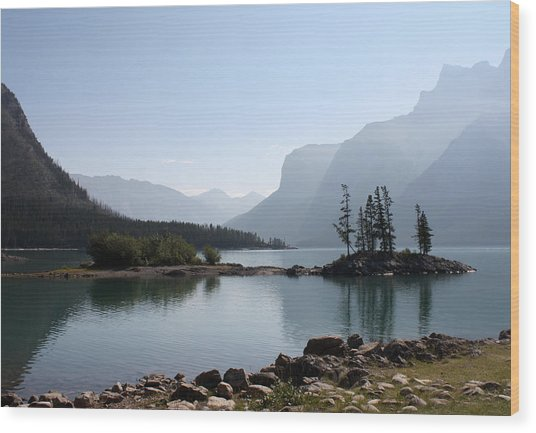 Lake Mennewanka Wood Print by Carolyn Ardolino