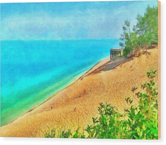 Lake Michigan Overlook On The Pierce Stocking Scenic Drive Wood Print