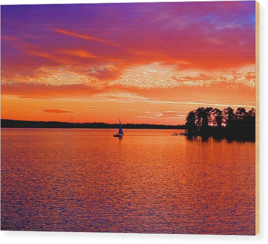Lake Murray Sunset Wood Print