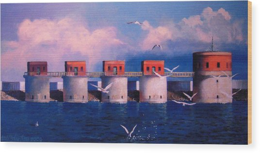 Lake Murray Towers Wood Print