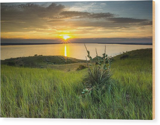 Lake Oahe Sunset Wood Print