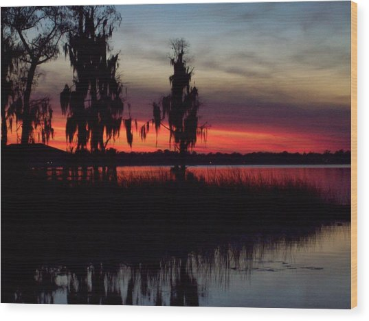 Lake On Fire Wood Print
