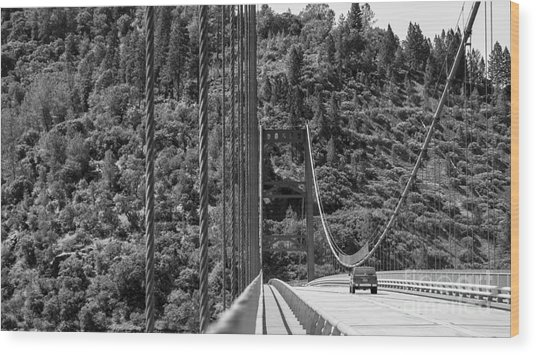 Lake Oroville Bridge Black And White Wood Print