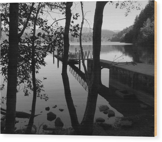 Lake Padden Reflection In Black And White Wood Print