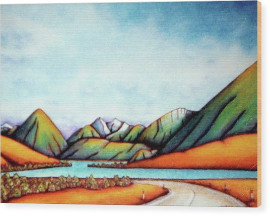 Lake Pearson 1999 Si Nz Wood Print by Barbara Stirrup