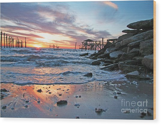Lake Ponchartrain Sunset Wood Print