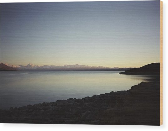 Lake Pukaki First Light Wood Print