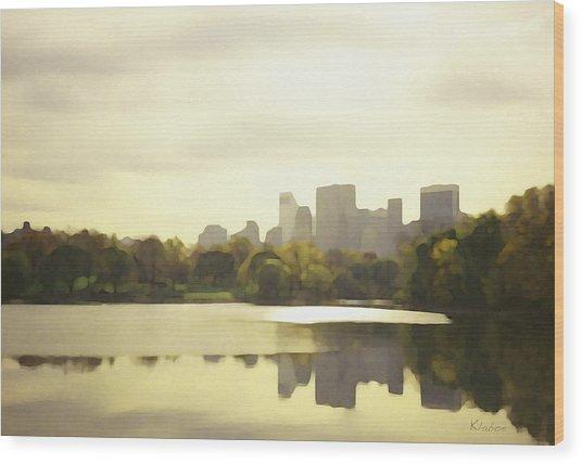 Lake Reflection Skyline 3 Wood Print