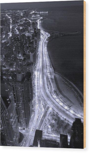 Lake Shore Drive Aerial  B And  W Wood Print