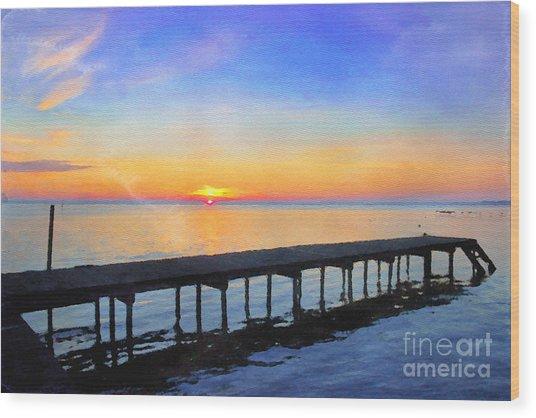 Lake Sunrise - Watercolor Wood Print