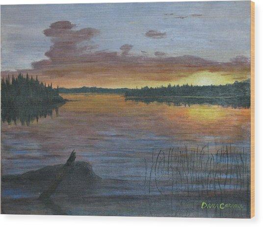 Lake Sunrise Wood Print by Dana Carroll