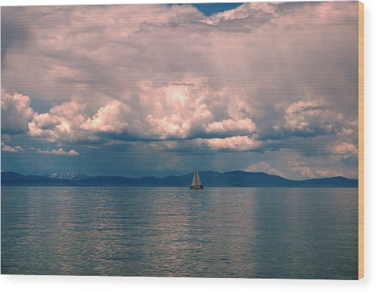 Lake Sunrise Sailing Wood Print