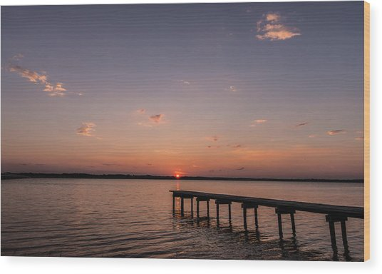 Lake Sunset Over Pier Wood Print