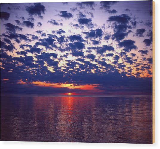 Lake Superior Sunset Wood Print by Tim Hawkins