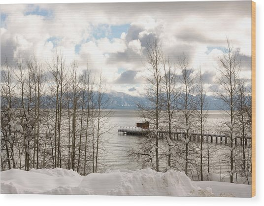 Lake Tahoe In Winter Wood Print by Denice Breaux