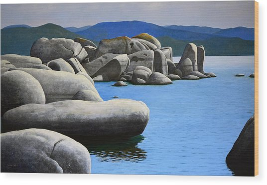 Lake Tahoe Rocky Cove Wood Print