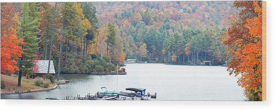Lake Toxaway In The Fall Wood Print