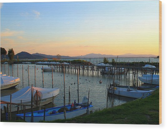 Lake Trasimeno Marina Wood Print by Saya Studios
