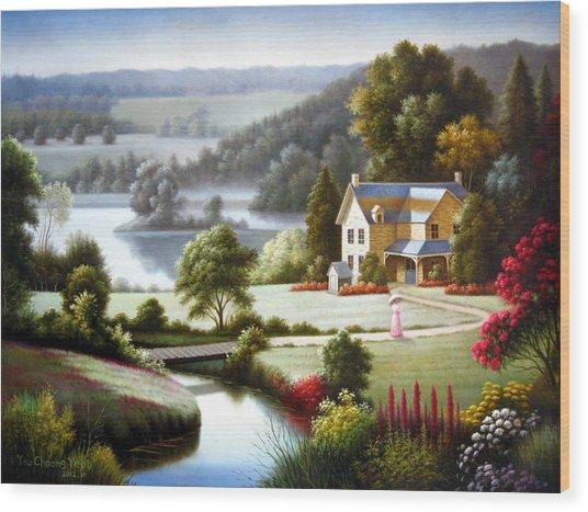 Lake Villa Wood Print