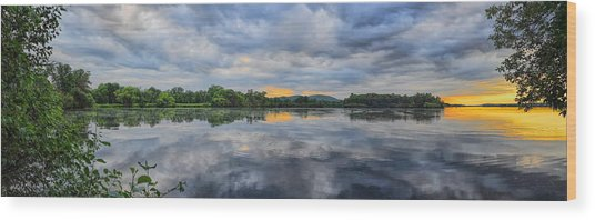 Lake Wausau Summer Sunset Panoramic Wood Print