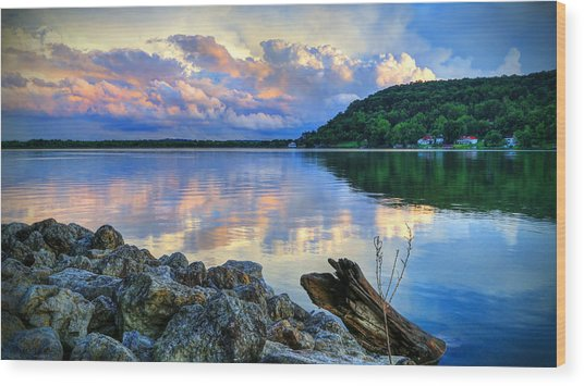 Lake White Sundown Wood Print
