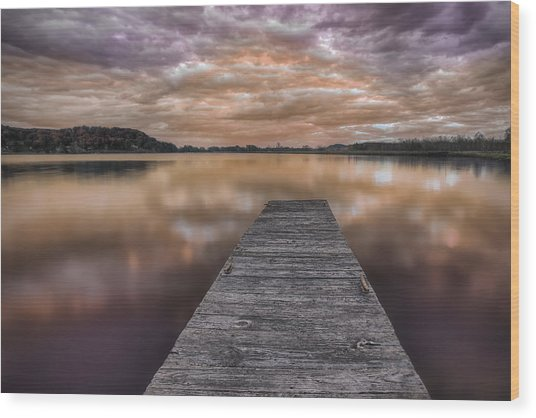 Lake White Twilight Wood Print