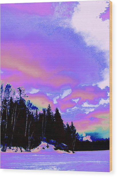 Winter  Snow Sky  Wood Print