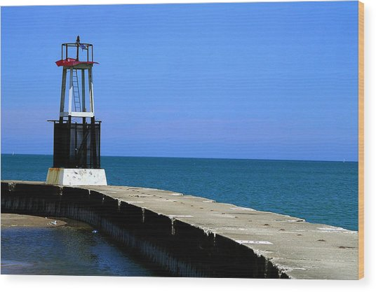 Lakefront Pier Tower Wood Print