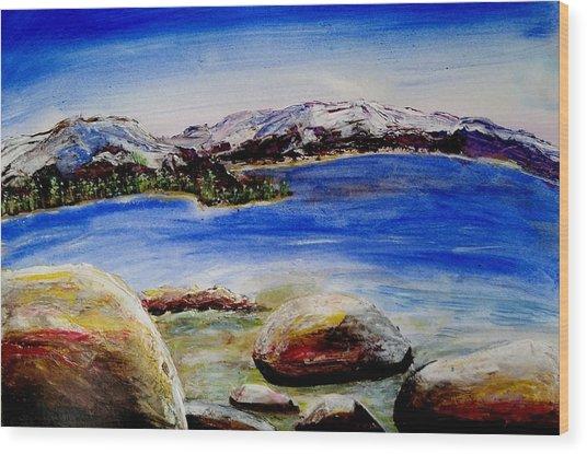 Lakeshore Boulders Wood Print