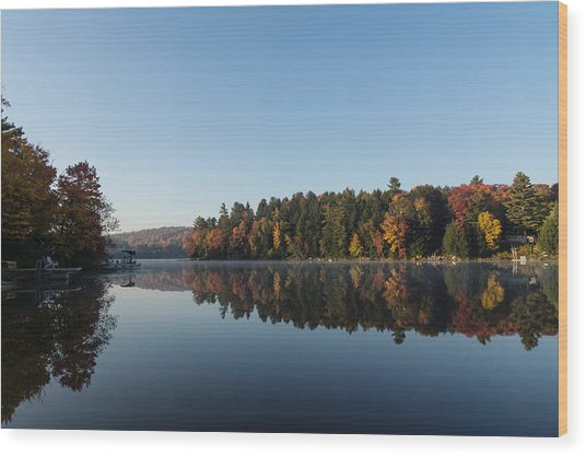 Lakeside Cottage Living - Peaceful Morning Mirror Wood Print